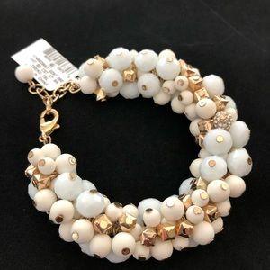 INC White Cream Crystal Beaded Statement Bracelet